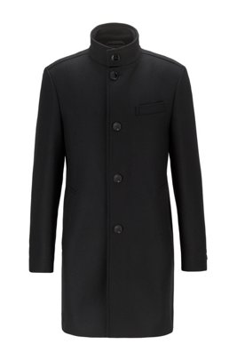 Slim-fit wool-blend coat with funnel collar, Black