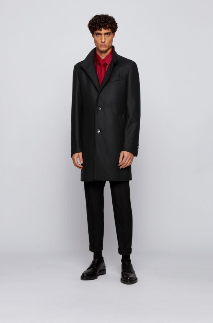 Slim-fit wool-blend coat with funnel collar