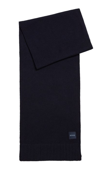 Knitted scarf with woven logo badge and ribbed trims, Dark Blue