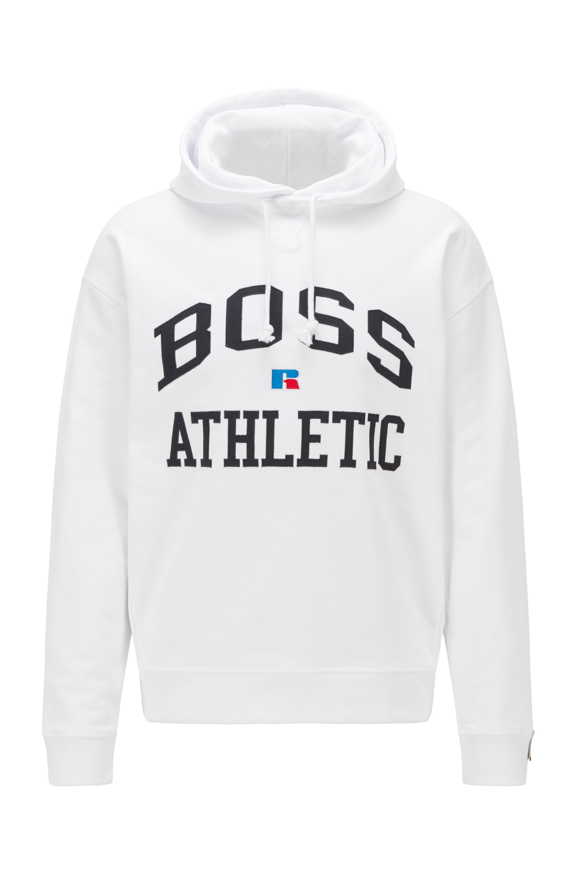 Relaxed-fit unisex hoodie in organic cotton with exclusive logo, White
