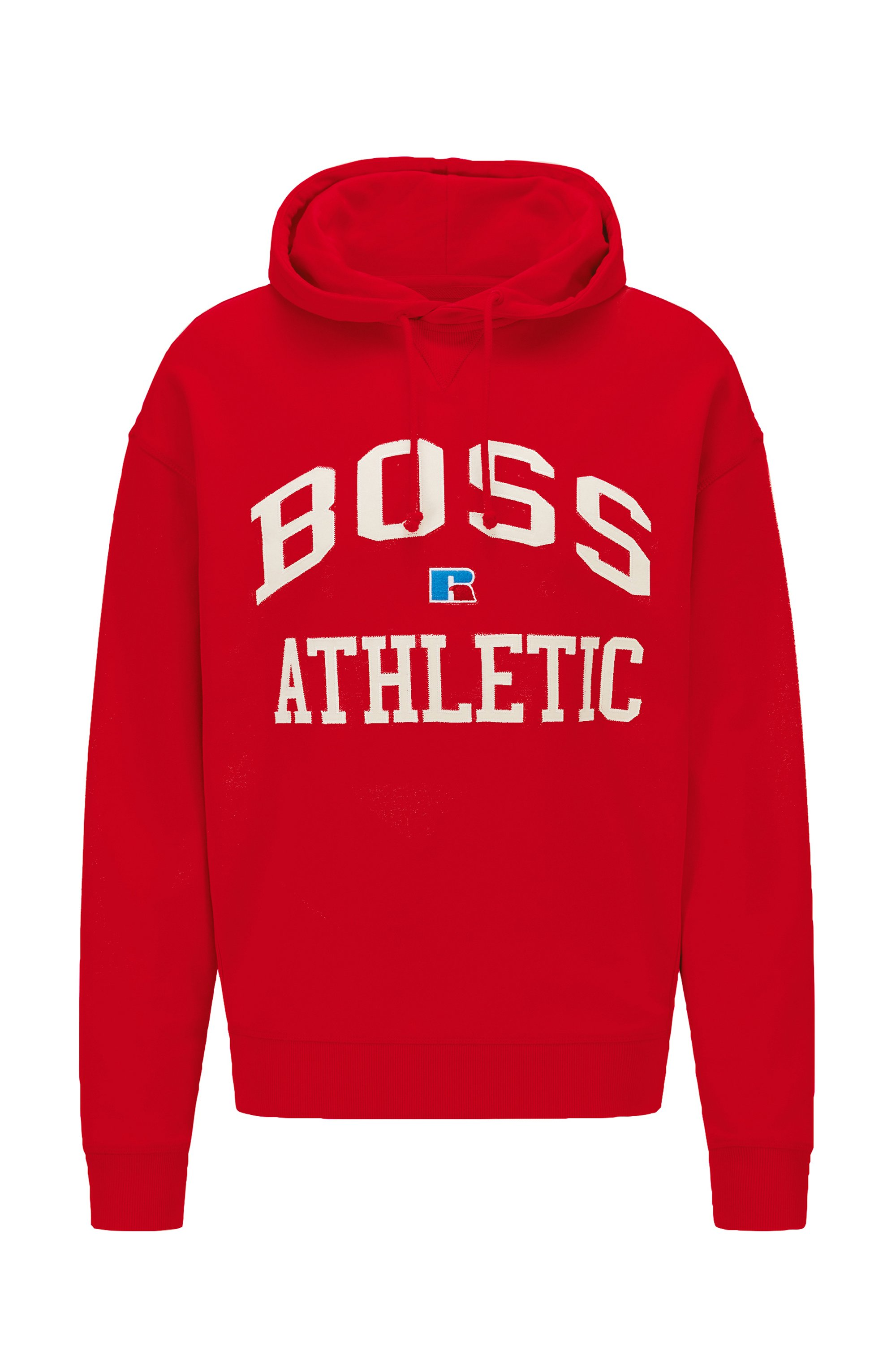 Relaxed-fit unisex hoodie in organic cotton with exclusive logo, Red
