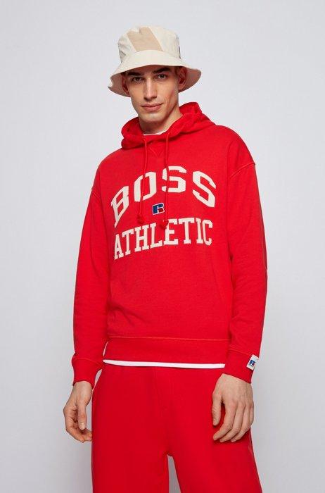 Sweat à capuche mixte Relaxed Fit en coton biologique avec logo exclusif, Rouge