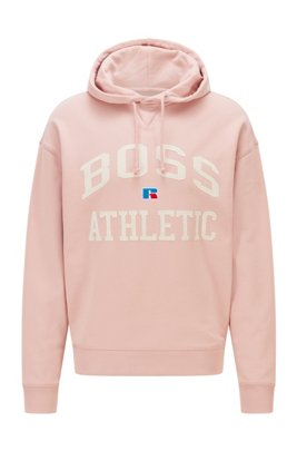Relaxed-fit unisex hoodie in organic cotton with exclusive logo, light pink