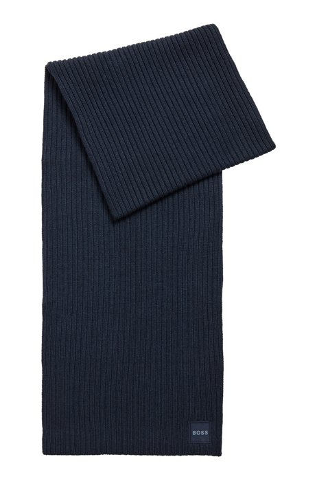 Virgin-wool scarf with ribbed structure and logo badge, Dark Blue