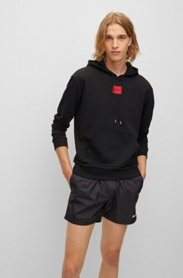 Cotton hooded sweatshirt with red logo label, Black