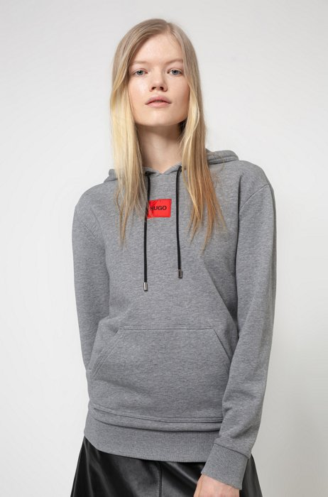 Cotton hooded sweatshirt with red logo label, Grey