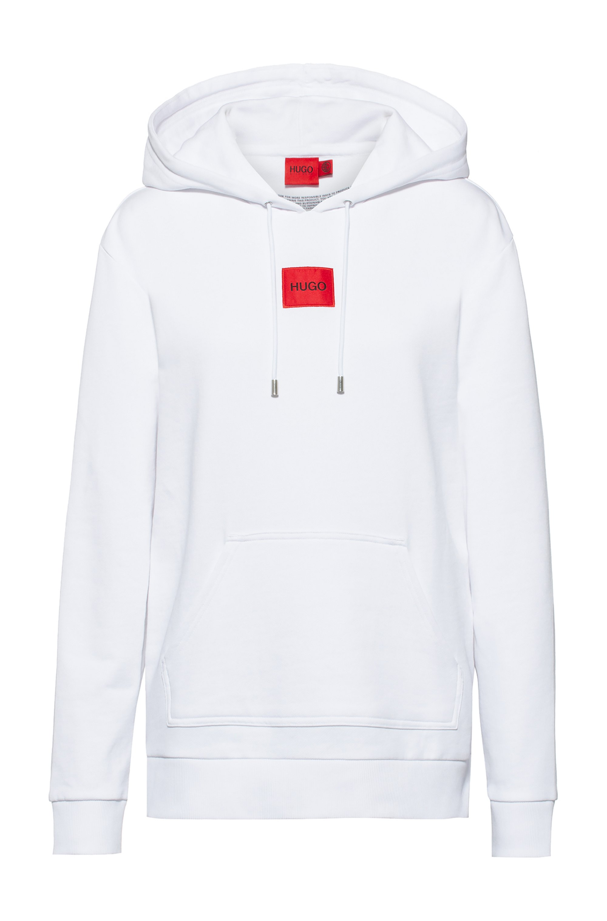 Cotton hooded sweatshirt with red logo label, White