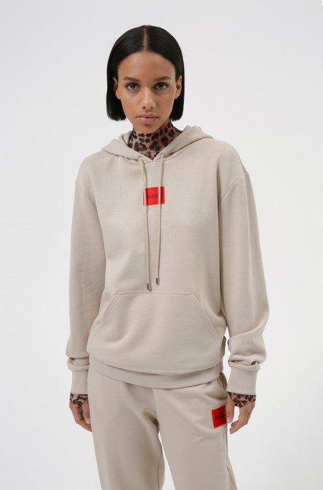 Cotton hooded sweatshirt with logo label, Light Beige