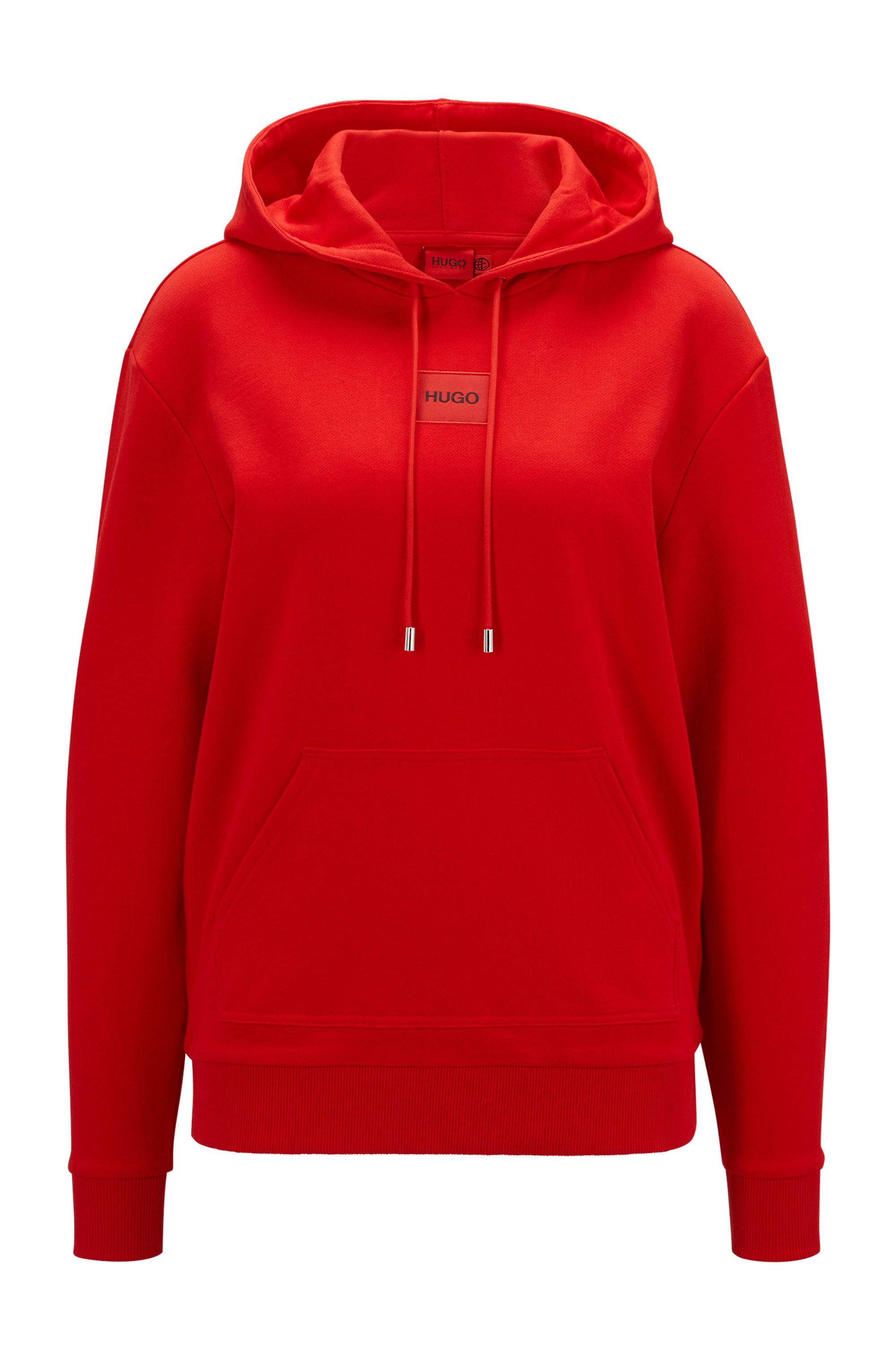 Cotton hooded sweatshirt with red logo label, light pink
