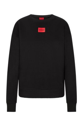 Regular-fit cotton sweatshirt with red logo label, Black