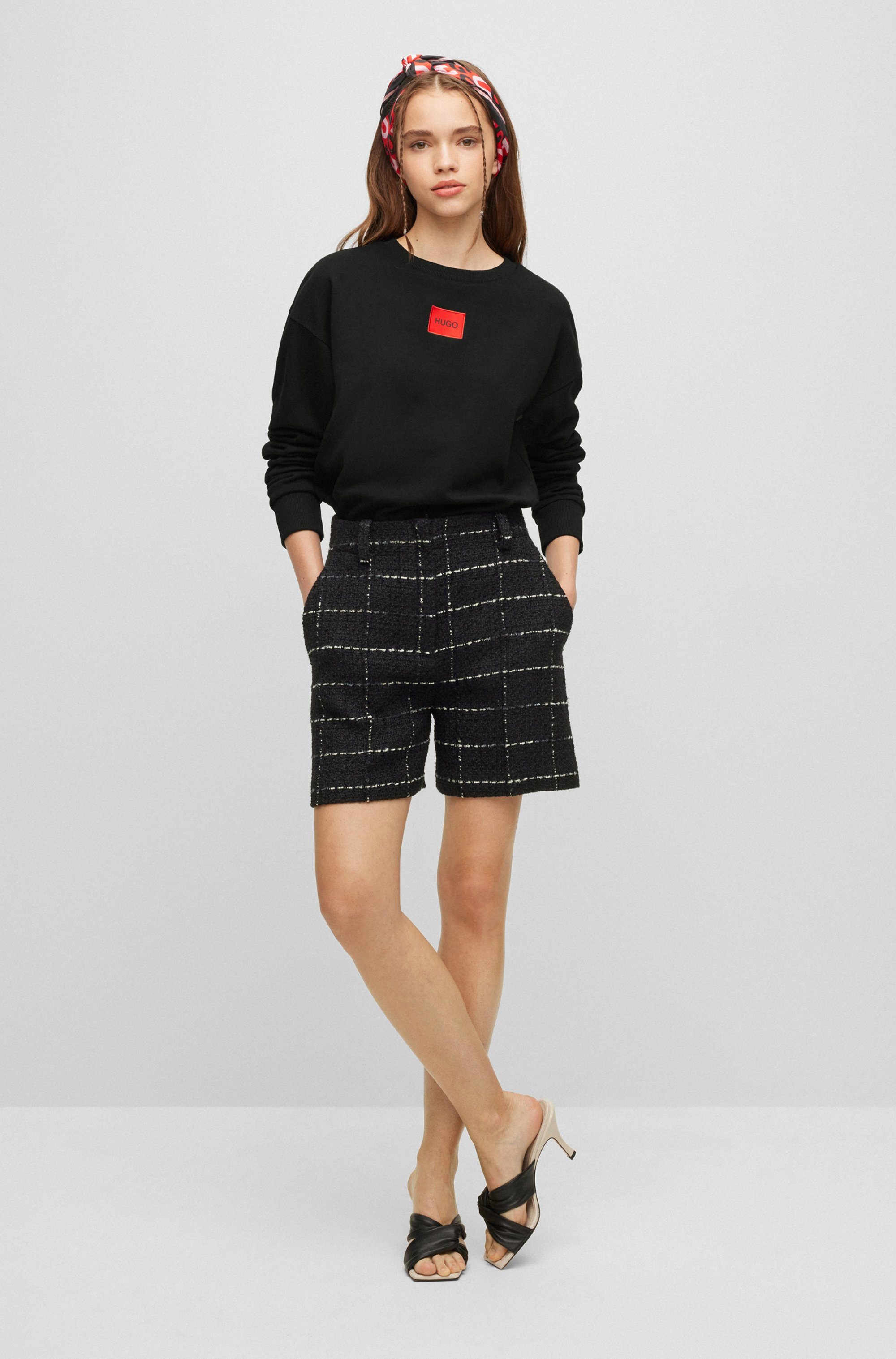 Regular-fit cotton sweatshirt with red logo label