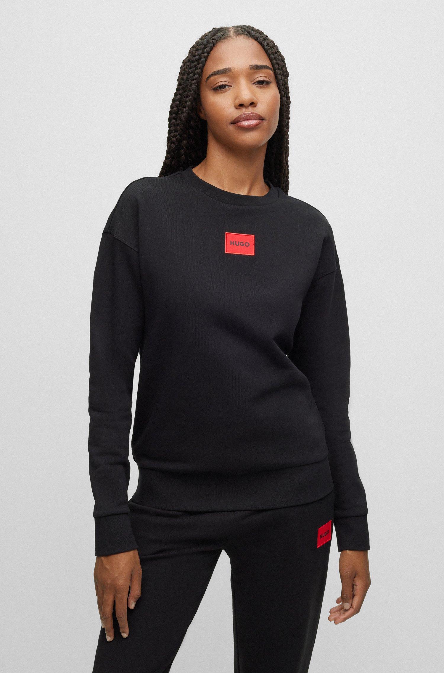 Regular-fit cotton sweatshirt with red logo label, Black