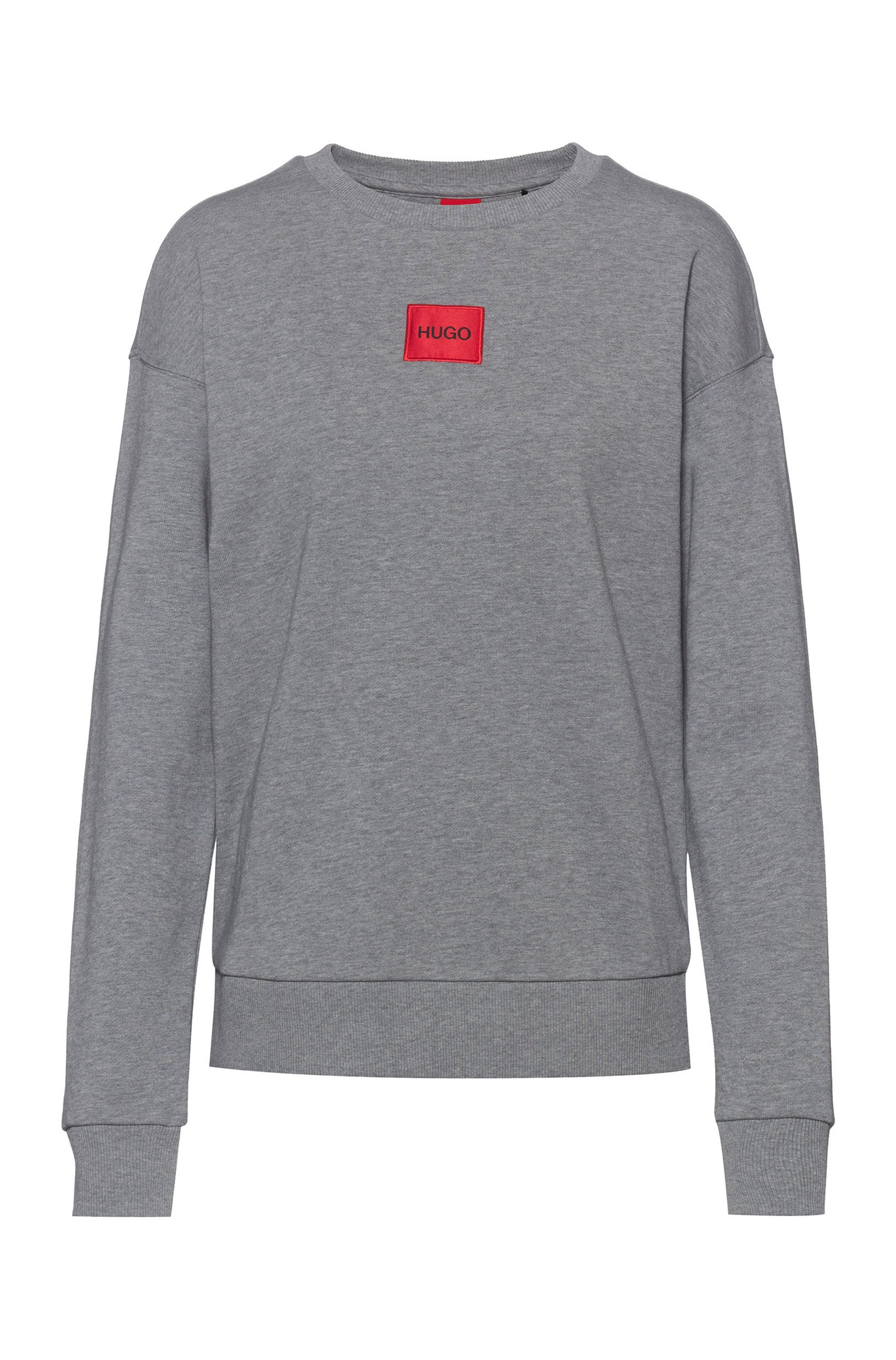 Regular-fit cotton sweatshirt with red logo label, Grey