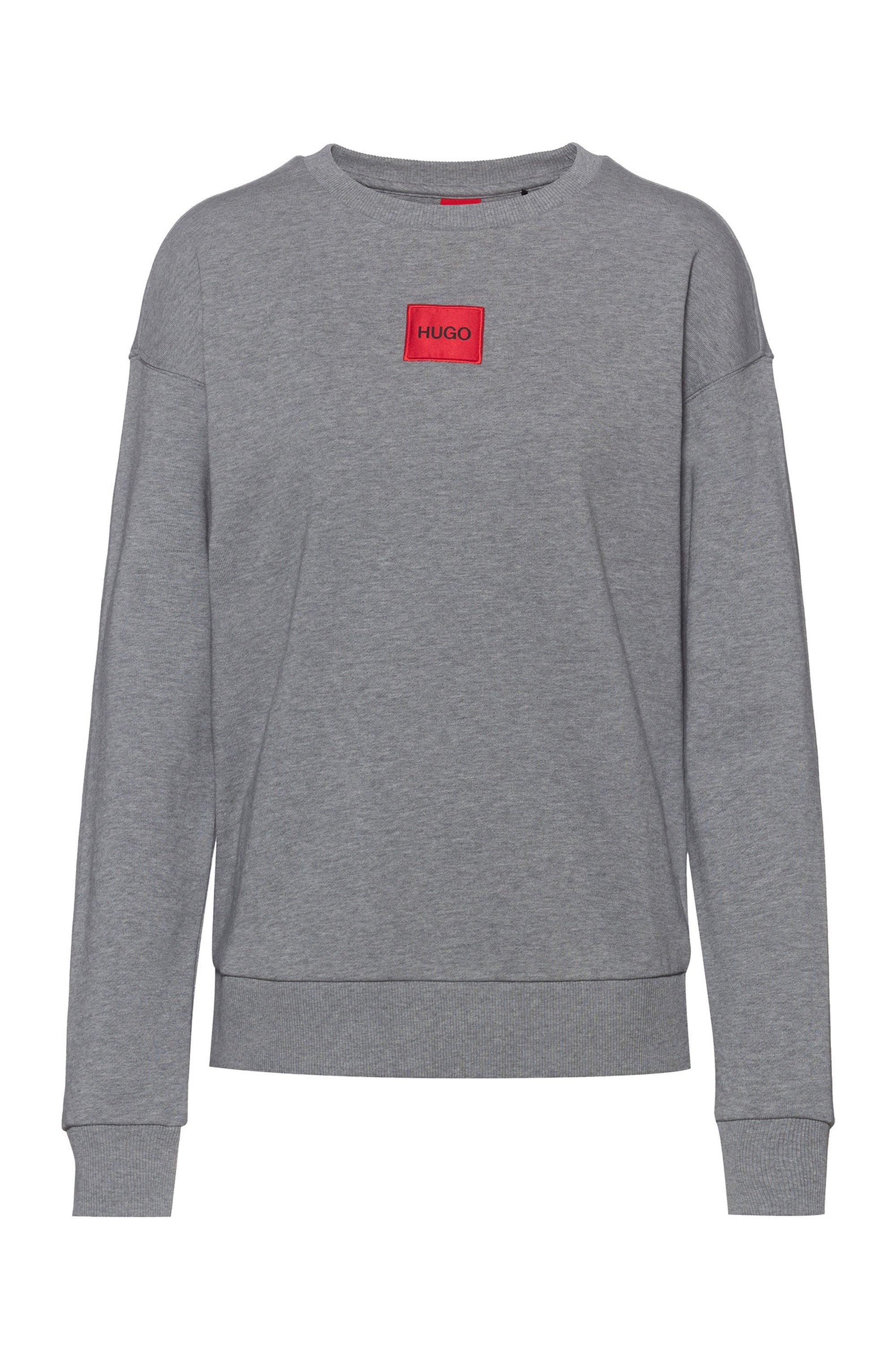 Regular-Fit Sweatshirt aus Baumwolle mit rotem Logo-Etikett, Grau