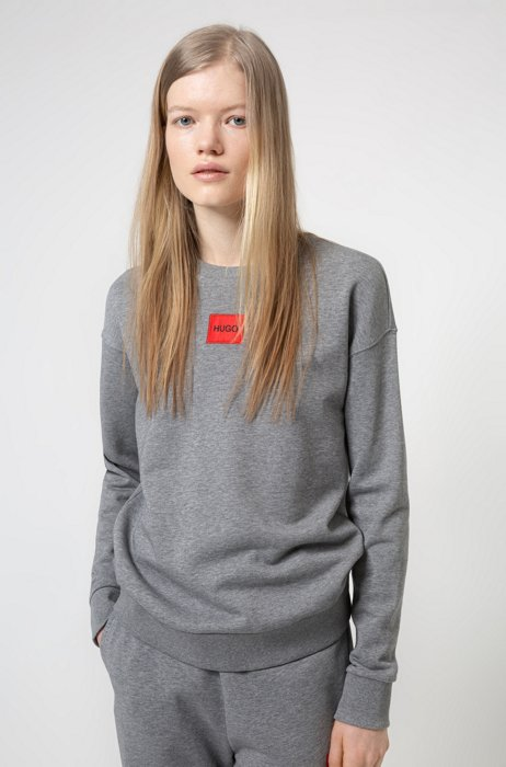Regular-fit cotton sweatshirt with red logo label, Grey