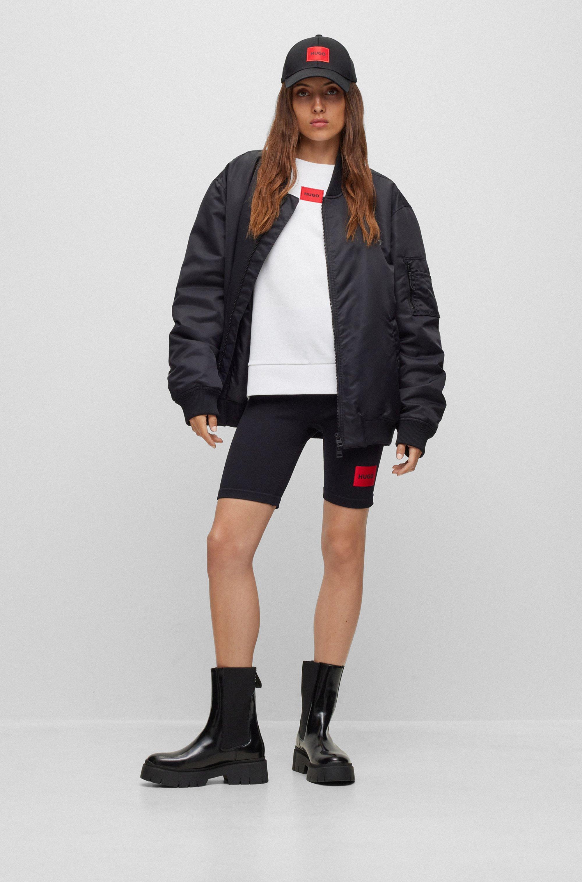 Regular-fit cotton sweatshirt with red logo label