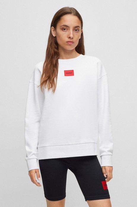 Regular-fit cotton sweatshirt with red logo label, White