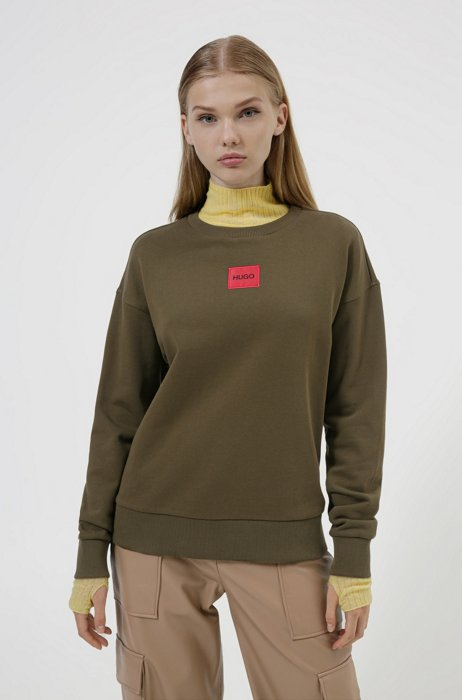 Regular-fit cotton sweatshirt with logo label, Khaki