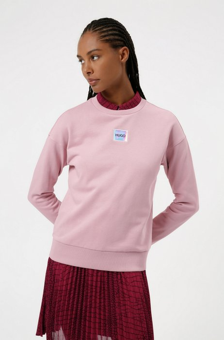 Regular-fit cotton sweatshirt with logo label, light pink