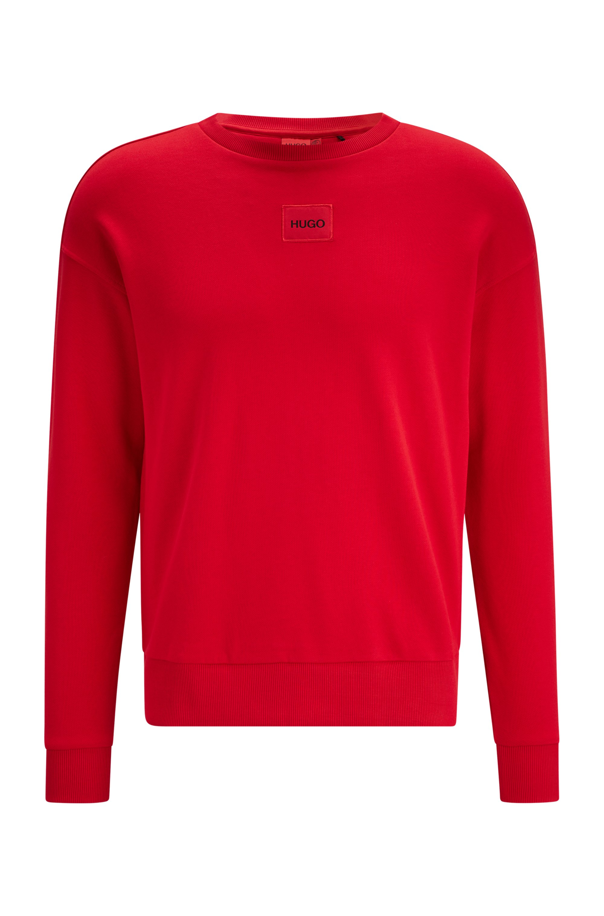 Regular-fit cotton sweatshirt with red logo label, light pink