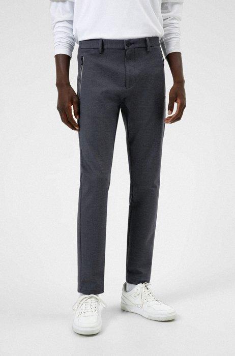 Chino Slim Fit en tissu stretch avec poches zippées, Noir