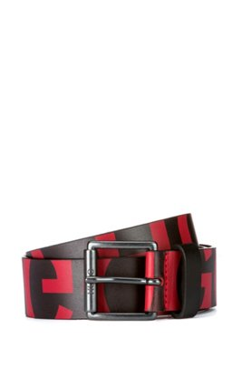Pin-buckle belt in Italian leather with cropped logos, Black