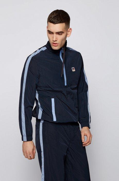 Sweatshirt met ritskraag, contrastdecoraties en exclusief logo, Donkerblauw