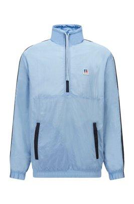 Sweatshirt mit Reißverschluss am Ausschnitt, Kontrast-Details und exklusiven Logos, Hellblau