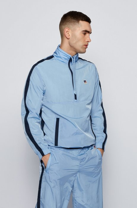 Zip-neck sweatshirt with contrast trims and exclusive logo, Light Blue