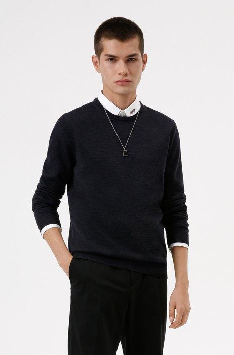 Slim-fit sweater in extra-fine merino wool, Dark Grey