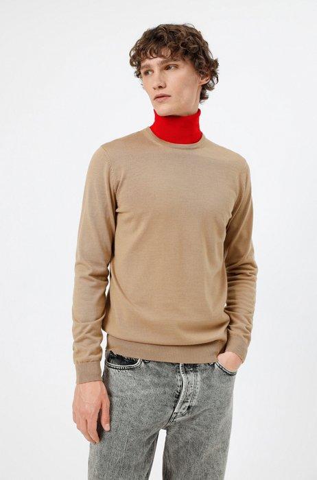 Slim-fit sweater in extra-fine merino wool, Beige