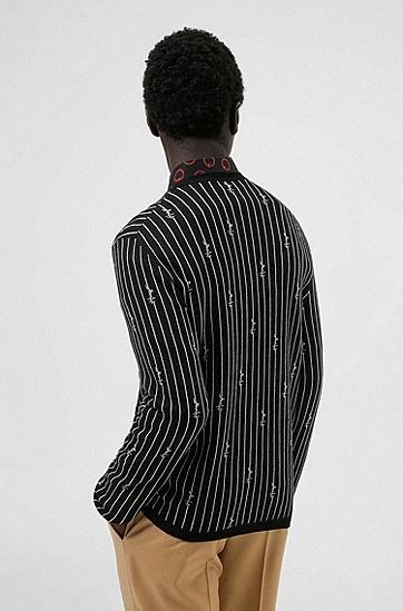 提花针织细条纹徽标装饰棉混纺毛衣,  001_Black