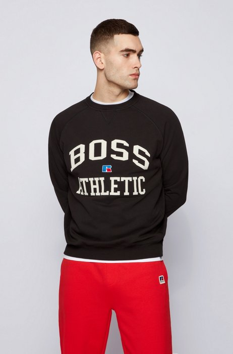 Relaxed-fit unisex sweatshirt in organic cotton with exclusive logo, Black