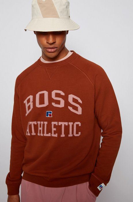 Relaxed-fit unisex sweatshirt in organic cotton with exclusive logo, Light Brown