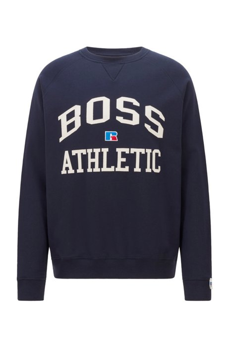 Relaxed-fit unisex sweatshirt in organic cotton with exclusive logo, Dark Blue
