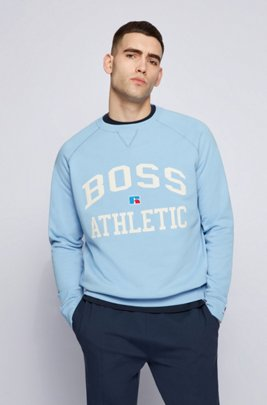 Relaxed-fit unisex sweatshirt in organic cotton with exclusive logo, Light Blue