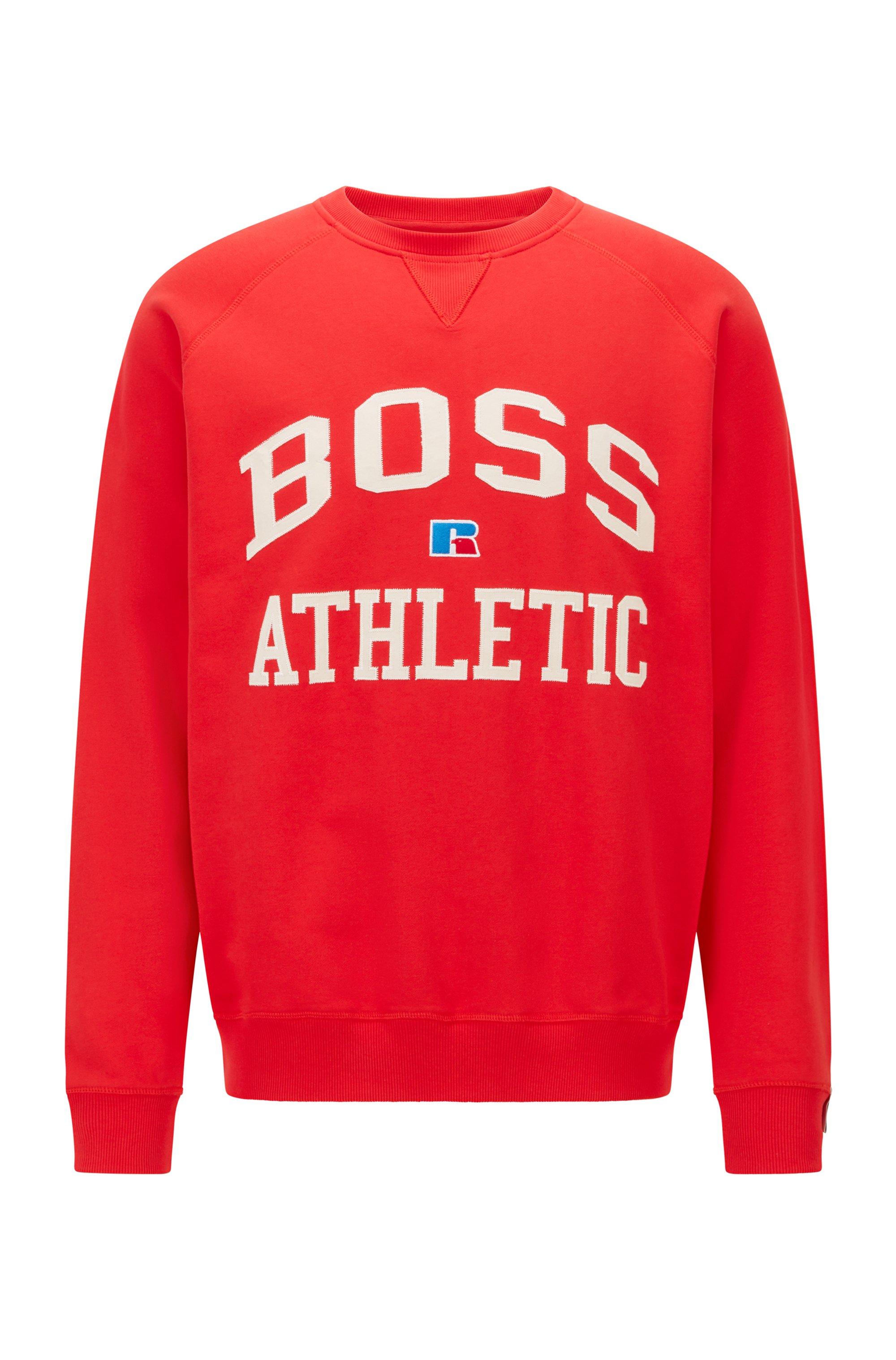 Sweat mixte Relaxed Fit en coton biologique à logo exclusif, Rouge