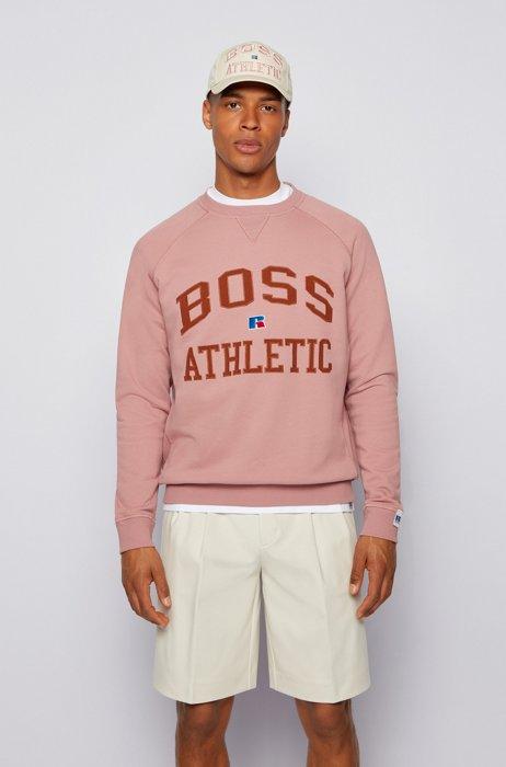 Relaxed-Fit Sweatshirt aus Bio-Baumwolle mit exklusivem Logo, Hellrosa