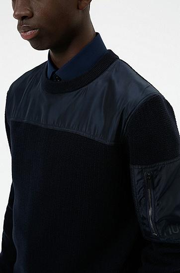 同色镶片装饰宽松版型棉质混纺毛衣,  410_Navy