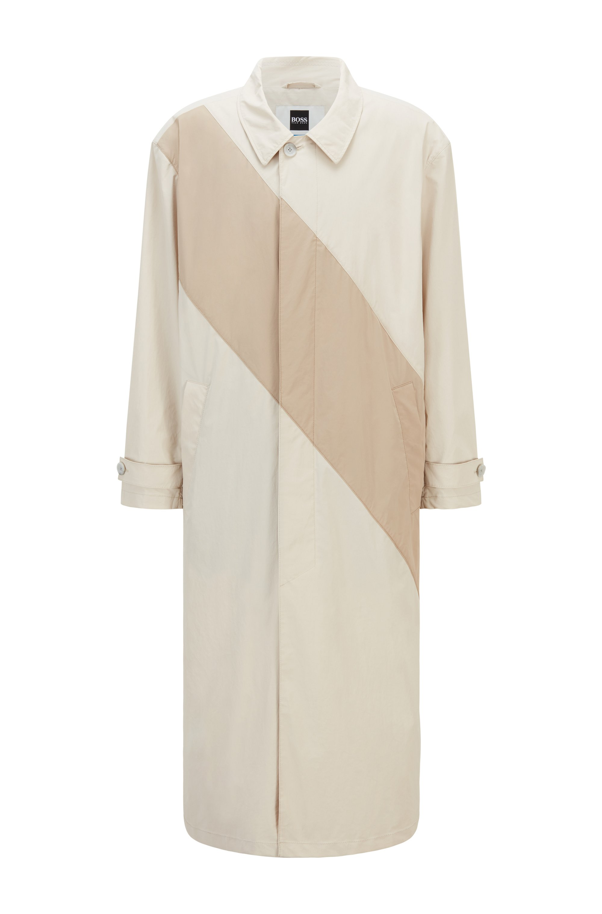 Coated-cotton coat with tonal stripe, Light Beige