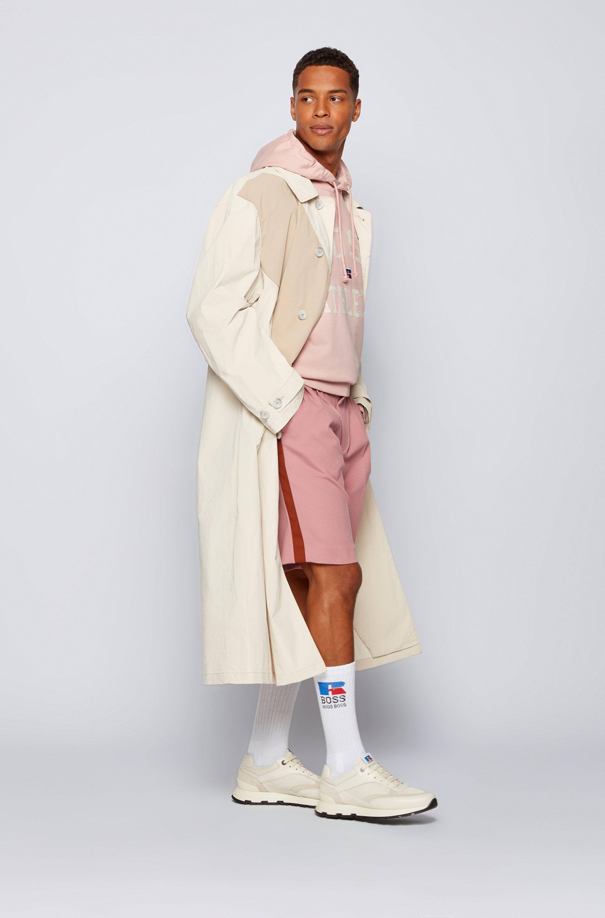 Mantel aus beschichteter Baumwolle mit tonalem Streifen