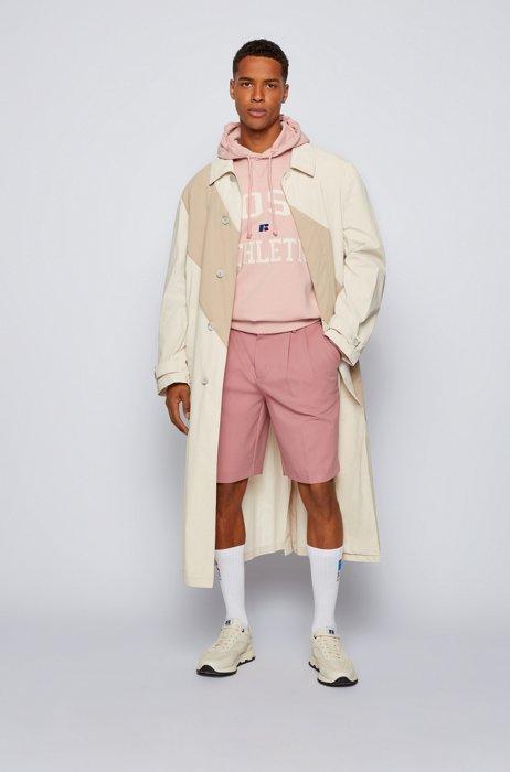 Mantel van gecoate katoen met ton-sur-ton streep, Lichtbeige