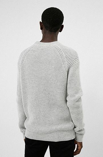品牌宣言徽标装饰罗纹毛衣,  107_Natural