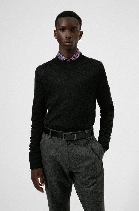 Mock-neck sweater with jacquard-woven pattern, Dark Grey