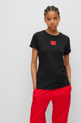 Slim-fit cotton T-shirt with red logo label, Black