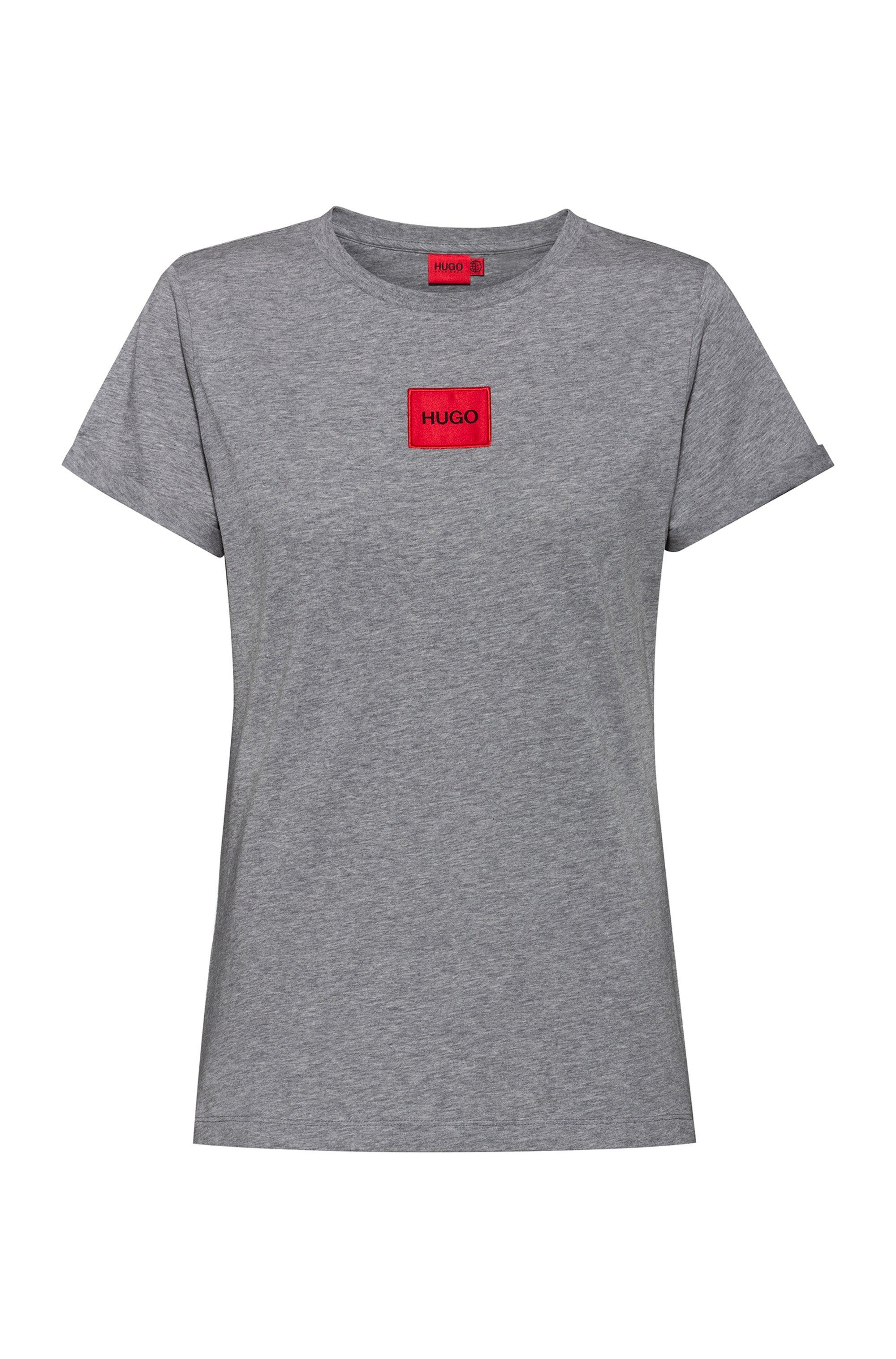 T-shirt Slim Fit en coton avec étiquette logo rouge, Gris