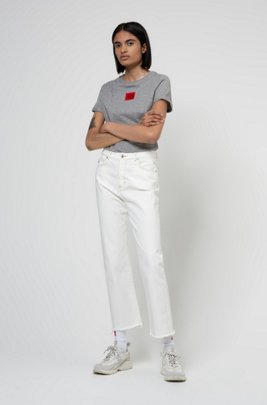 Slim-fit cotton T-shirt with red logo label, Grey