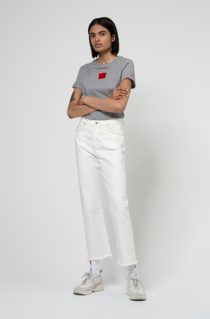 Slim-fit cotton T-shirt with red logo label