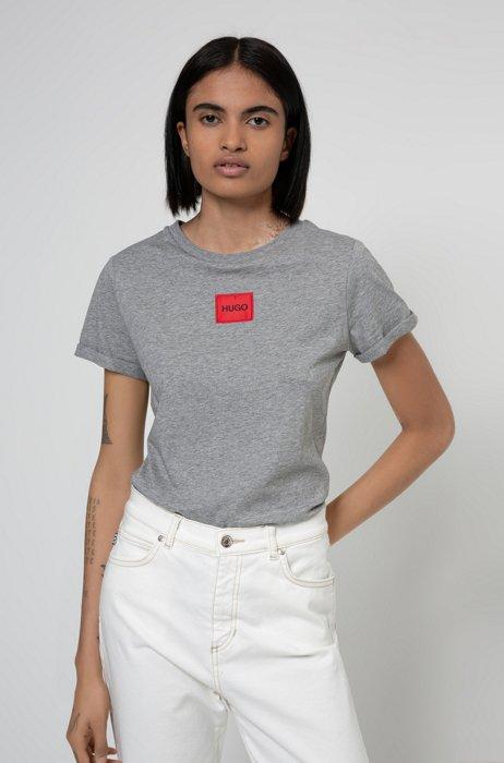 T-shirt Slim Fit en coton avec étiquette logo, Gris