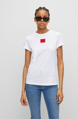 Slim-fit cotton T-shirt with red logo label, White